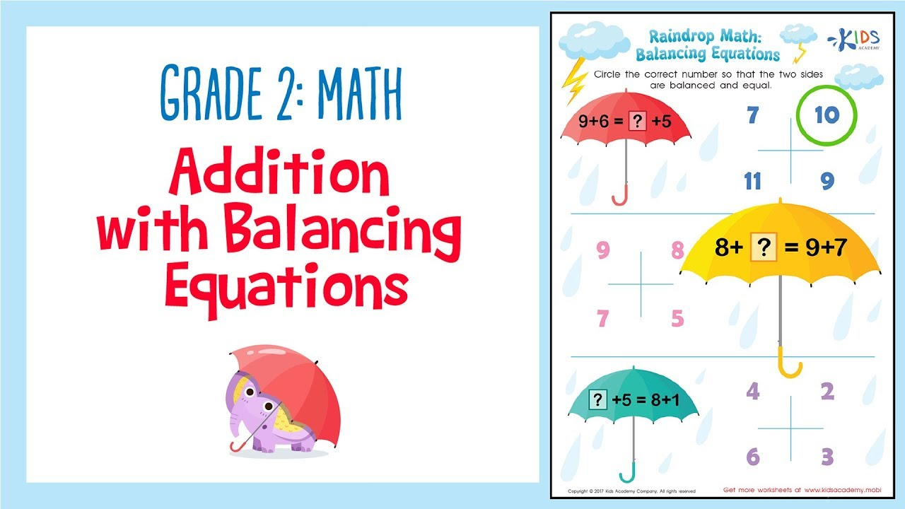 hight resolution of Addition Worksheet: Balancing equations   2nd Grade Math Worksheets   Kids  Academy