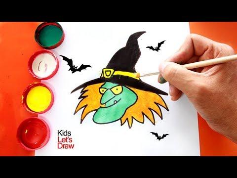 Cómo Dibujar Una Cara De Bruja Dibujos De Halloween Youtube
