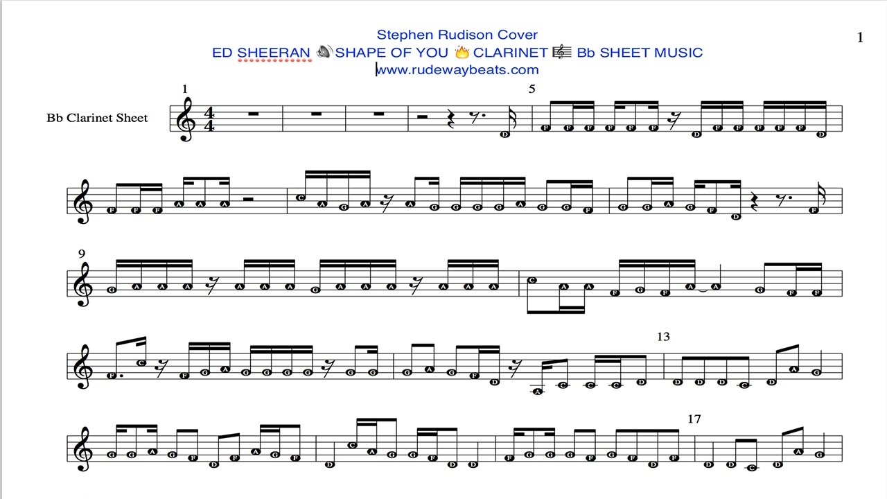 ed sheeran shape of you sheet music