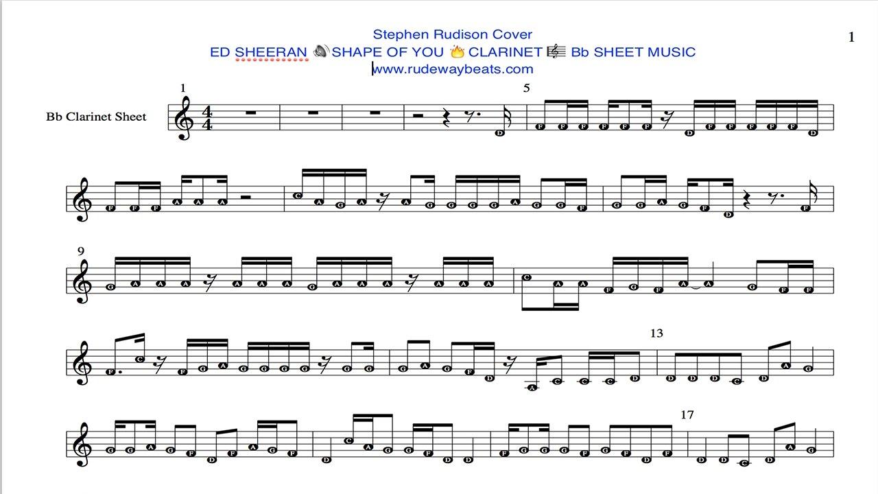 Ed Sheeran 🔊shape Of You 🔥clarinet 🎼 Bb Notes Youtube