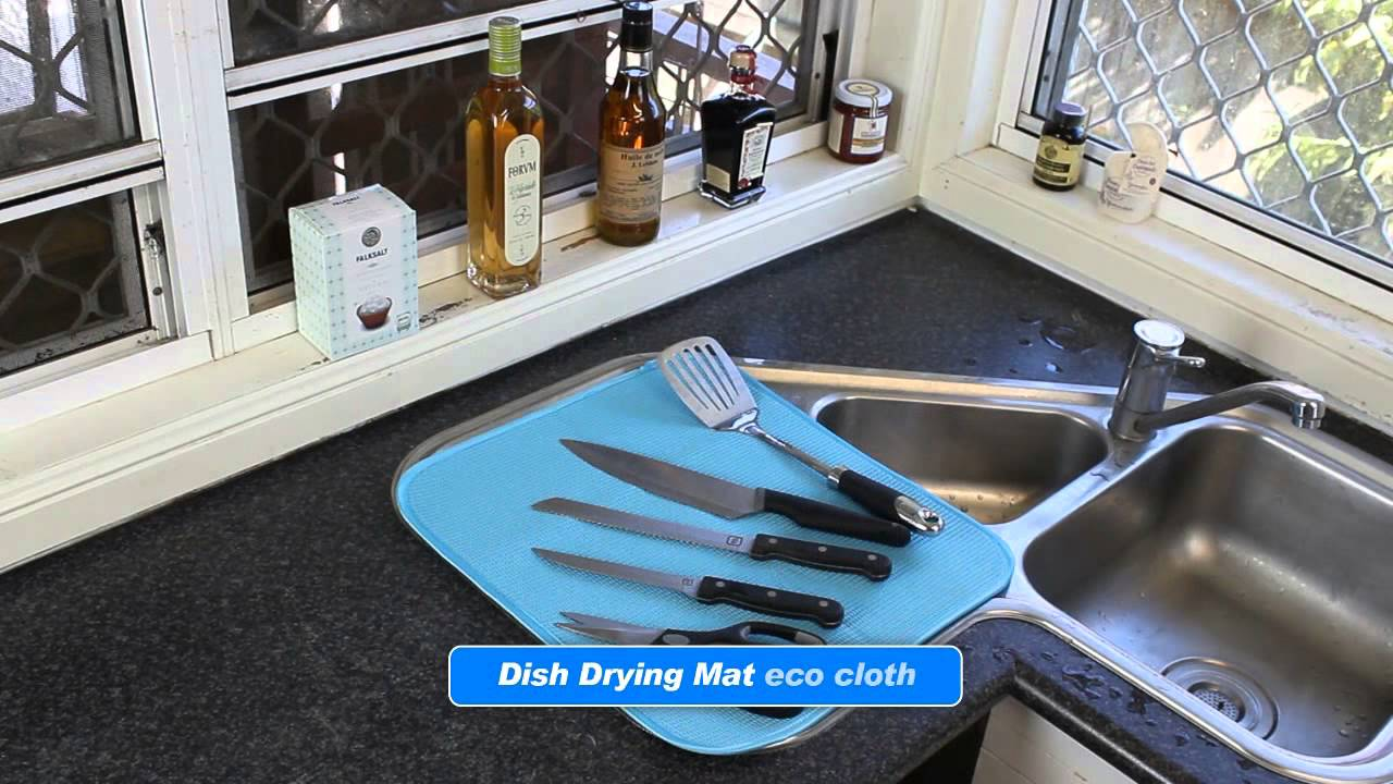White Magic Dish Drying Mat - YouTube