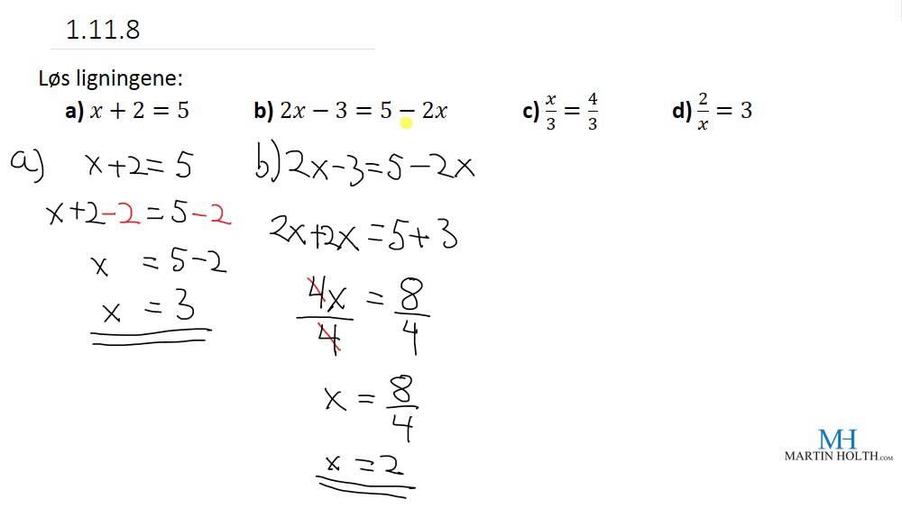 Matematikk 1P - Prøveoppgaver - Ligninger lett - 1.11.8