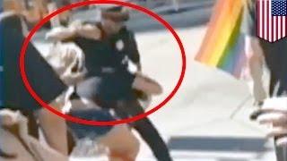 Полицейский избил девушку, защищавшую геев