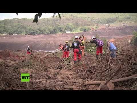 Búsqueda de sobrevivientes tras el colapso de una presa en Brasil