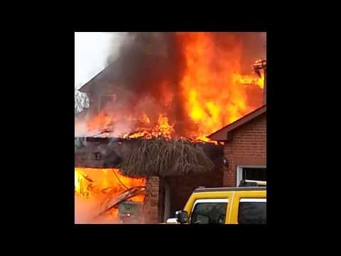 Brampton House Fire - Home Engulfed in Flames - Caught on Video