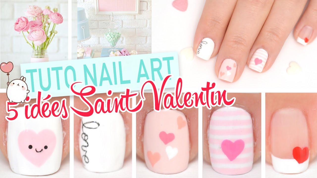 5 idees nail art faciles pour la saint valentin youtube - Idee nail art facile ...