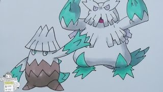 Drawing Pokemon No. 459 Snover ユキカブリ, No. 460 Abomasnow ユキノオー