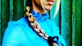 Коса с лентой. Вплетение ленты в косу.
