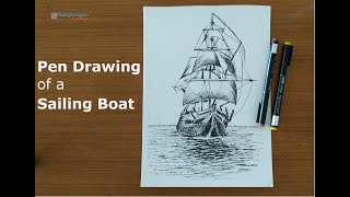 Sailboat Pen Drawing | How to easily draw a boat with mast and sails | Pen Sketching
