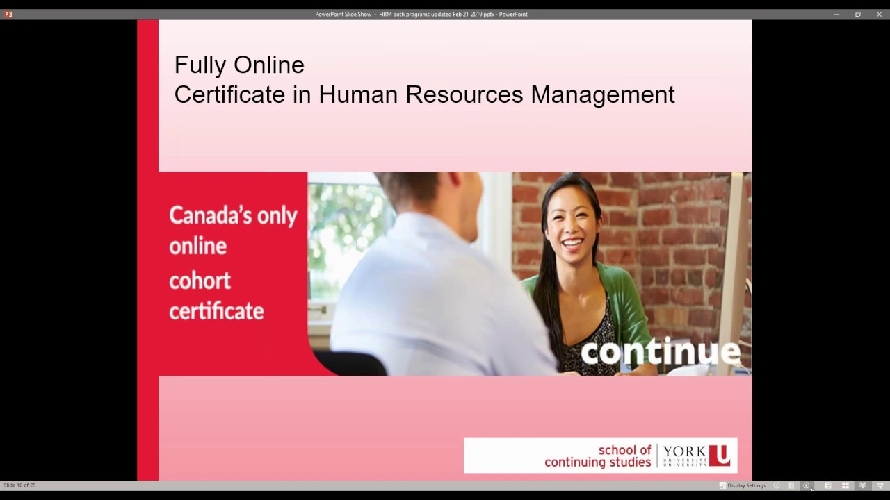 Certificate in Human Resources Management (Online) | School of