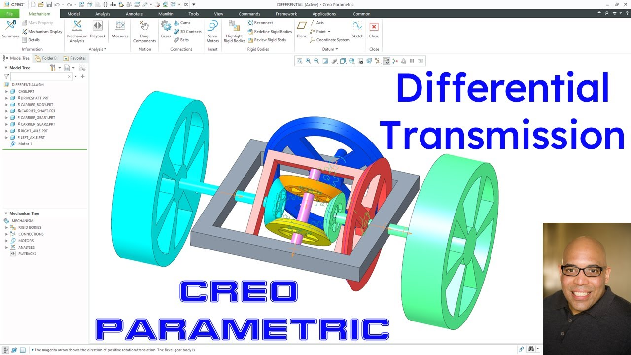 Creo Parametric - Mechanisms | Differential Transmission