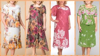 40+new look fashion knee length and toe length floral print dailly routine plus size casual dress