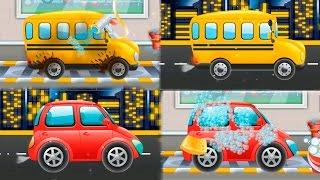 Мультики про машинки - Мойка машинки и школьного автобуса.