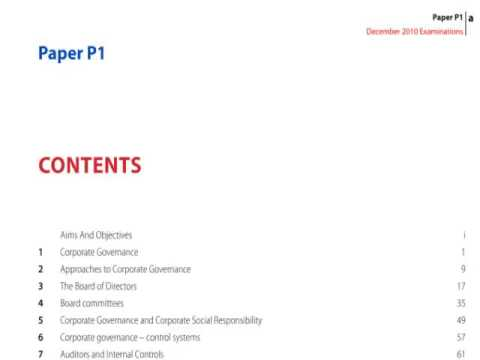 ACCA P1 Chapter 1 part a Corporate Governance