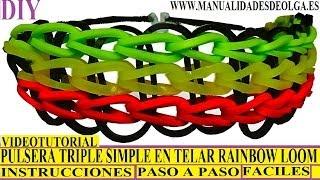 Repeat youtube video COMO HACER PULSERAS GOMITAS MODELO TRIPLE SIMPLE (SINGLE) EN TELAR RAINBOW LOOM TUTORIAL ESPAÑOL DIY