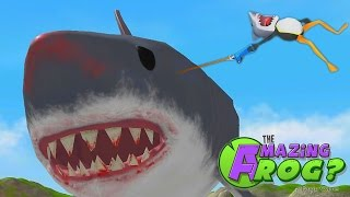 RIDING THE GIANT SHARK MEGALODON | The Amazing Frog Gameplay