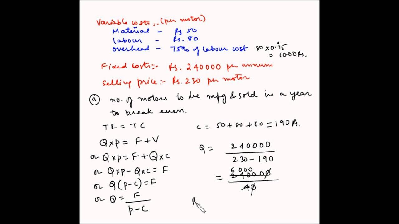 Cost Volume Profit analysis - Example 19 - Break even analysis