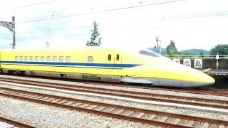 4K 山陽新幹線 東広島駅 ドクターイエロー こだま検測 停車中 のぞみ22号に抜かれる