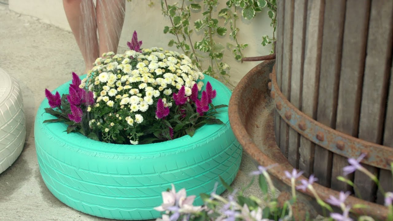 Pot De Fleur Avec Des Pneus comment faire - pots de fleurs en pneus de voiture