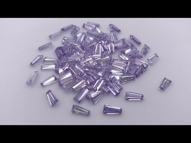 Cubic Zirconia Lavender Color Tapered Baguette Cut Gemstones wholesale