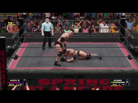 Scoop dan WWE 2k18 universe Reboot WCW Spring Stampede Batista vs Goldberg