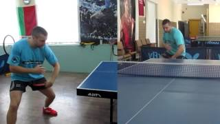 Уроки настольного тенниса: Топ спин слева по верхнему мячу