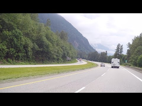 Driving To CHILLIWACK BC Canada. Trans-Canada Highway. Mountains & Farmland.