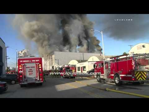 LAFD switches to defensive ops at commercial fire