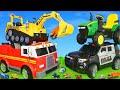 Ekskavatör ve Yeni, polis arabası, Arabalar çizgi film, Traktör - Çocuk Oyuncakları - Excavator Toys