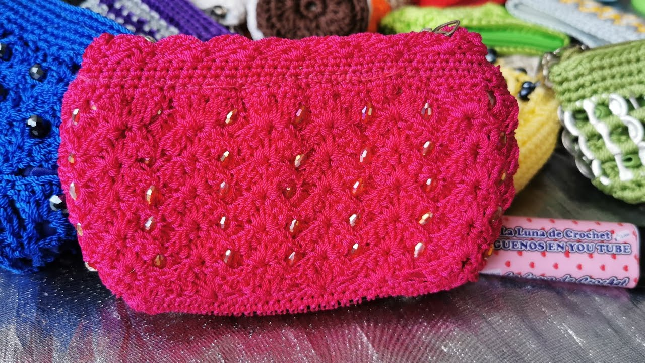 Monedero Tejido a Crochet Con Perlas - YouTube