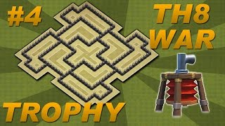 BEST Town Hall 8 (TH8) Trophy/War Base Design -Air Sweeper + 4 Mortars (Clash of Clans) Setup #4