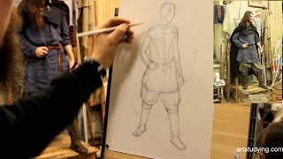 Фигура с луком. Обучение рисунку.Фигура. 107.