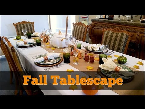 Fall Tablescape 2017 ~ Thanksgiving Table Decor ~ Dollar Tree, Pier 1, And Macy's