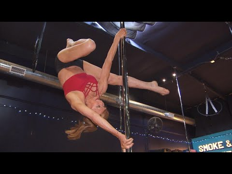 Cindy Scull Mornings - 67 Yr old  Woman DEFIES Gravity in POLE DANCING