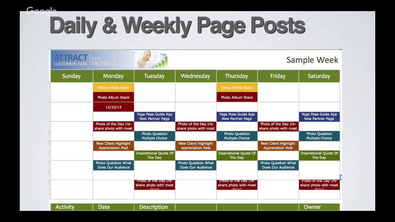 Small Business Coaching Marketing Calendar With Bret Gregory - Sample marketing calendar