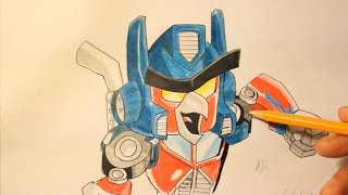 How To Draw Angry Birds Transformers - Red Bird as Optimus Prime