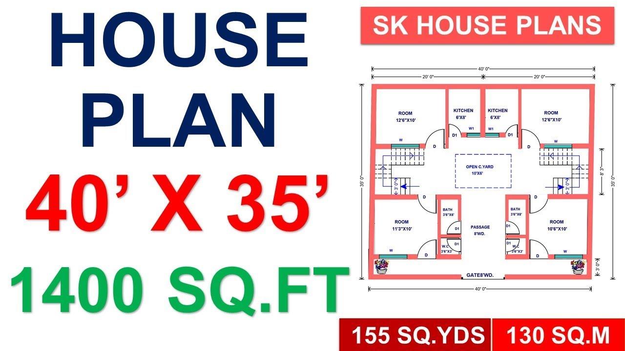40 X 35 House Plan 1400 Sqft 155 Sqyds 130 Sqm Youtube