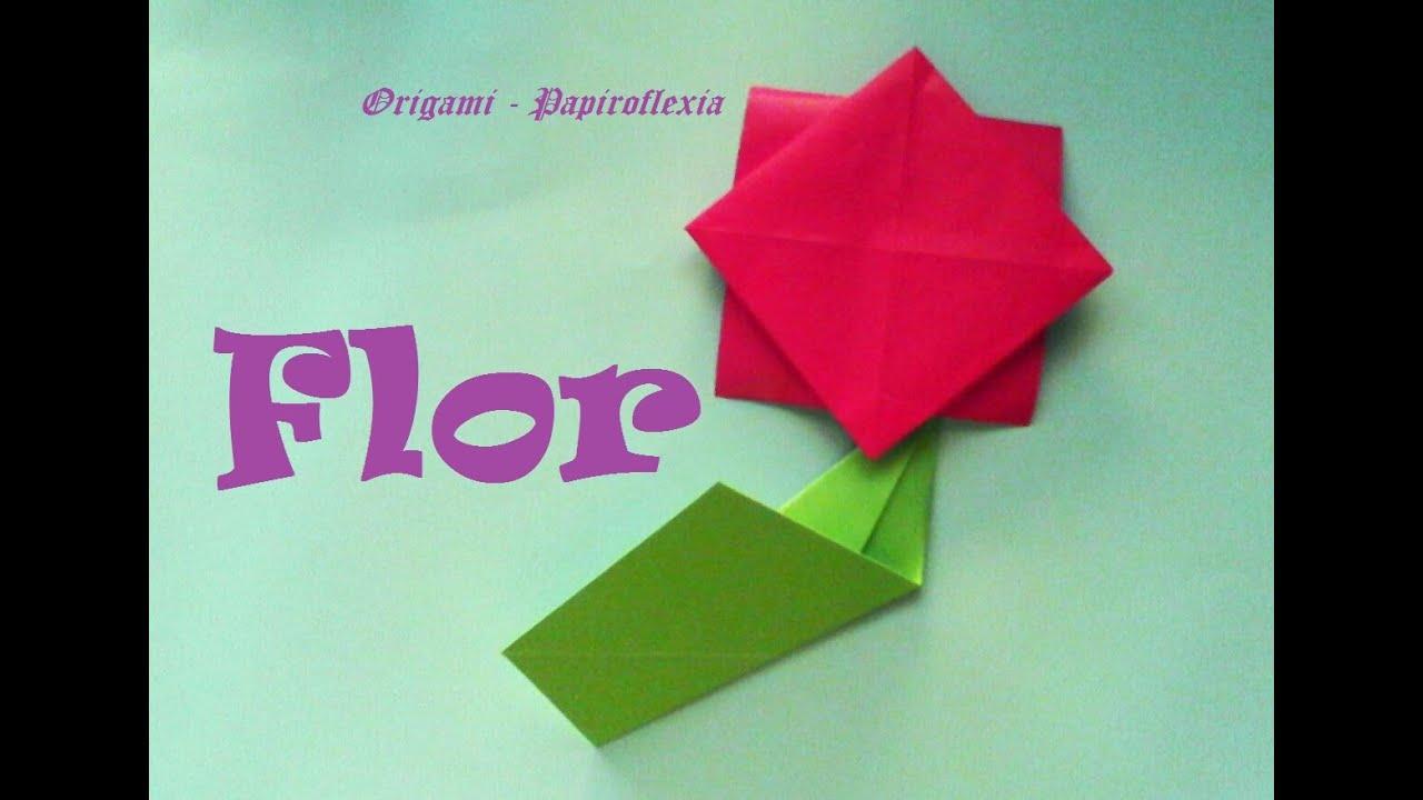 Origami papiroflexia flor muy muy sencilla y f cil para - Manualidades con papel de colores ...