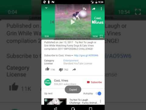 How to copy url of youtube video on android phone
