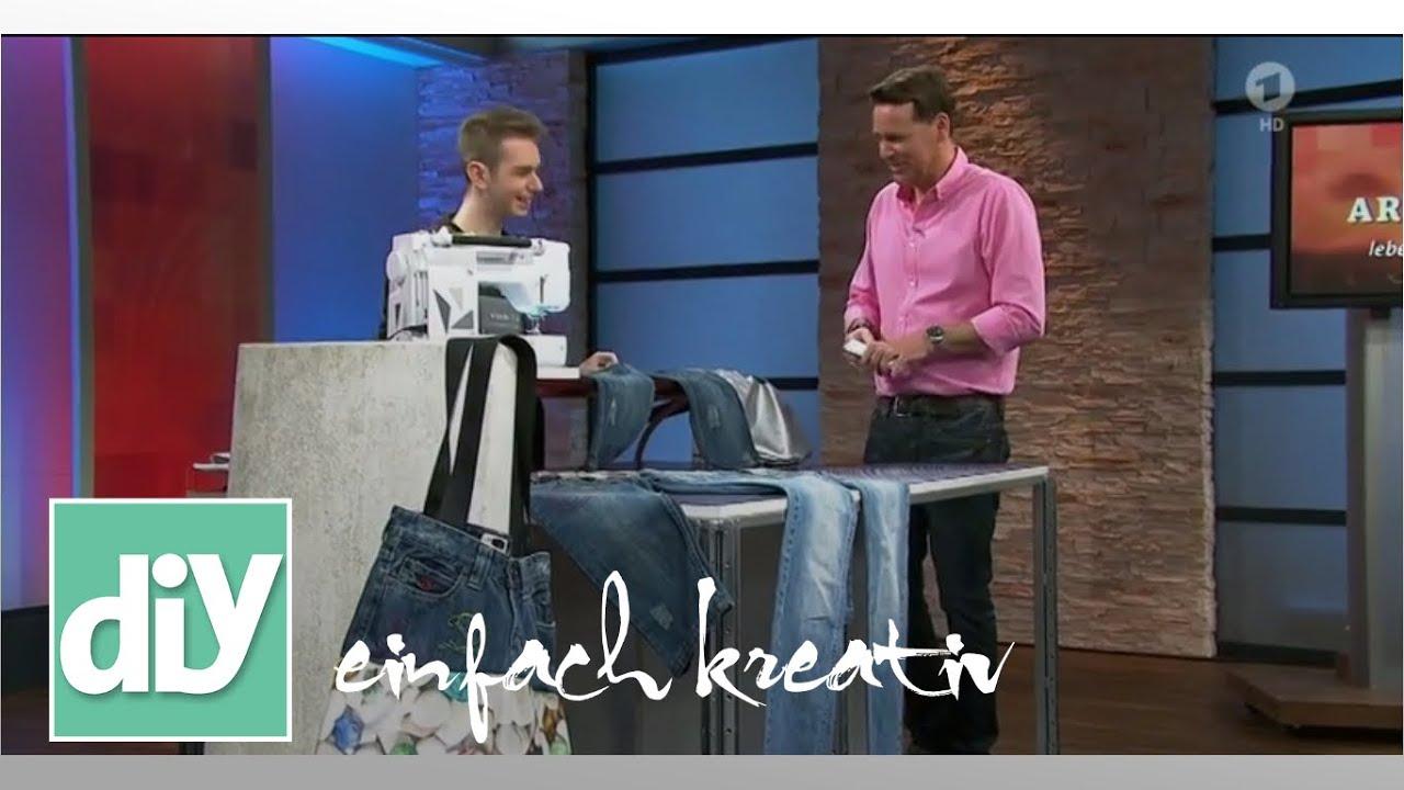 tasche aus alten jeans diy einfach kreativ youtube. Black Bedroom Furniture Sets. Home Design Ideas