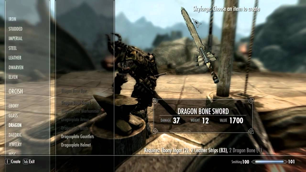 Skyrim Dragon Bone Weapons