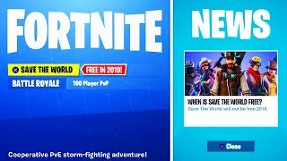 *NEW* FORTNITE SAVE THE WORLD FOR FREE.. (Save The World Free Release Date)