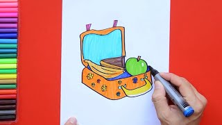 How to draw and color a healthy school lunch box
