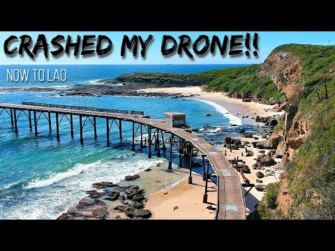 Crashed Drone!! Slammed my DJI Spark into the wharf at Catherine Hill Bay Australia - Now to Lao