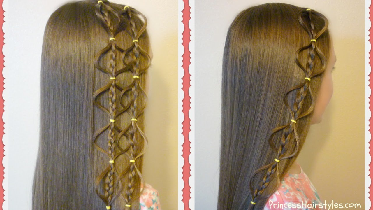 Hair Styles With Braids: Interlocking Floating Bubble Braid Hairstyle, Princess