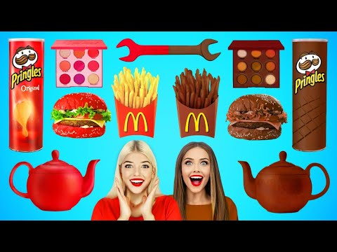 تحدي الطعام الحقيقي مقابل طعام الشوكولا | أواني المطبخ المزيفة وحيل الطعام المضحكة للأصدقاء