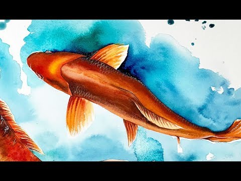 Koi Fish Watercolors Painting Tutorial