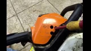 how to adjust the mixture carb on a chainsaw strimmer or hedge trimmer