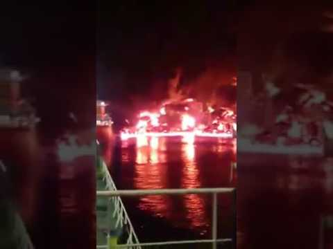 OIL SPILL  FIRE AT HOUSTON PORT,  ITC TERMINAL, TX , USA