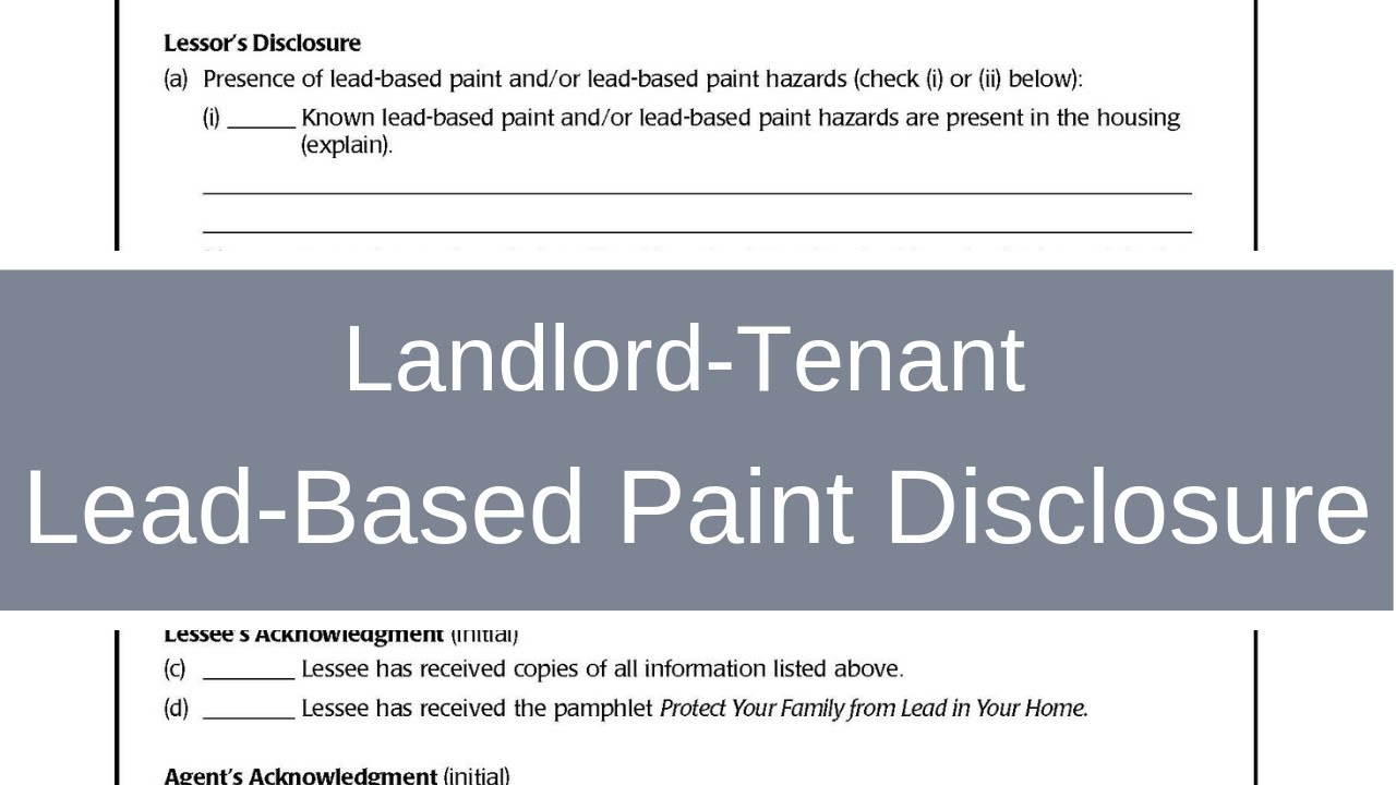 Lead Based Paint Disclosure What Landlords Property Managers Need